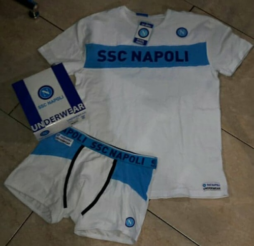 COMPLETO INTIMO T-SHIRT+BOXER BIANCO JUNIOR SSC NAPOLI