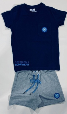 Completo shirt+shorts blu in cotone ssc napoli